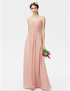 billige Romantisk rosa-Tube / kolonne stropper Gulvlang Chiffon Brudepikekjole med Plissert Bølgemønster Kryssdrapering av LAN TING BRIDE®