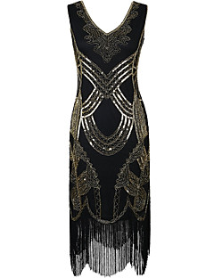 Sheath / Column V-neck Knee-Length Polyester Cocktail Party Dress with Sequins
