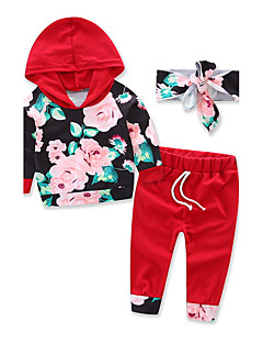 Girls' Fashion Sports Floral SetsCotton Fall Fall/Autumn red Long Pant Baby kids Clothing movement Set