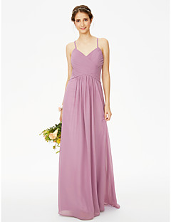 cheap Purple Passion-Sheath / Column Spaghetti Straps Floor Length Chiffon Bridesmaid Dress with Buttons Criss Cross Pleats by LAN TING BRIDE®