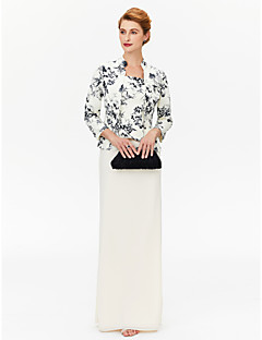 cheap Mother of the Bride Dresses-Sheath / Column Square Neck Floor Length Chiffon Mother of the Bride Dress with Pattern / Print by LAN TING BRIDE®