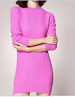 baratos Suéteres de Mulher-Mulheres Para Noite Manga Longa Lã / Algodão Carregam - Sólido Lã / Algodão / Outono / Inverno
