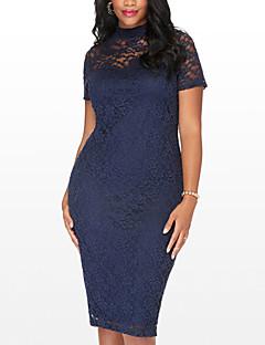 baratos Vestidos de Mulher-Mulheres Tamanhos Grandes Para Noite Moda de Rua Tubinho Vestido - Renda Vazado, Retalhos Gola Redonda Cintura Alta Médio