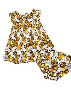 billige Sett med babyklær-Baby Børne Tøjsæt Bomuld Afslappet/Hverdag I-byen-tøj Ferie Baby Fest Dyretryk, 100 % bomuld Forår Sommer Uden ærmer Tegneserie Dyretryk