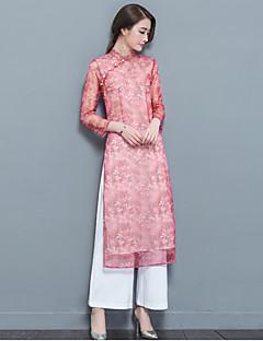 Women's Daily Soak Off Summer Blouse Skirt Suits,Floral Print Round Neck Long Pant Corduroy