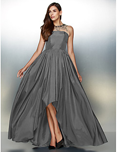 ba38933189ee Γραμμή Α Illusion Seckline Ασύμμετρο Ταφτάς Κοντό Μπροστά Μακρύ Πίσω  Χοροεσπερίδα   Επίσημο Βραδινό Φόρεμα με Χάντρες   Πλισέ με TS Couture®