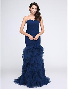 e8d174629b3e Τρομπέτα   Γοργόνα Καρδιά Ουρά Τούλι Επίσημο Βραδινό   Μαύρο γκαλά Φόρεμα  με Με διαδοχικές σούρες   Πιασίματα με TS Couture®