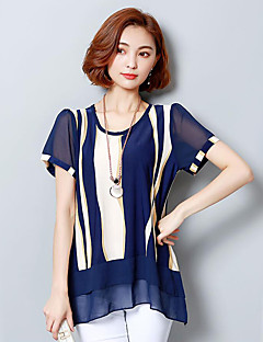 Women's Casual/Daily Street chic Summer Blouse,Striped Round Neck Short Sleeve Polyester Medium