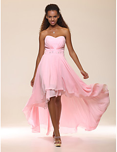 A-Line Princess Strapless Sweetheart Floor Length Asymmetrical Chiffon Evening Dress with Beading by TS Couture®