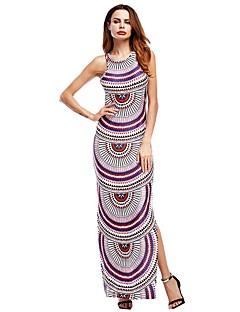 Χαμηλού Κόστους Split dresses-Γυναικεία Φουσκωτό Μανίκι Φαρδιά Φόρεμα - Μοτίβο, Εξώπλατο Μακρύ