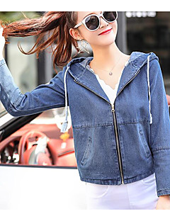 Women's Daily Modern/Contemporary Spring Denim Jacket,Solid Hooded Long Sleeve Short Others