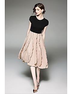 hesapli QIN QIN-Kadın's Vintage Çan Elbise - Solid, Fırfırlı Diz-boyu