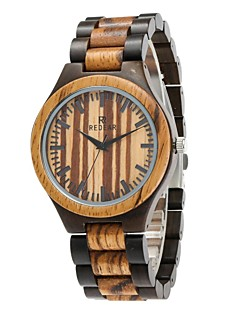 Homens Relógio Madeira Japanês Quartzo de madeira Madeira Banda Luxuoso Elegantes Preta Marrom
