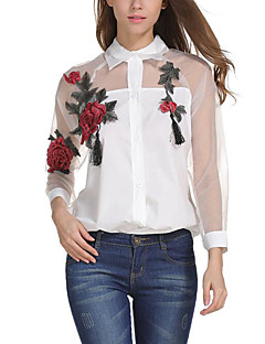 Women's Street Casual/Daily Street chic Summer Blouse,Flower/Floral Shirt Collar Long Sleeves Polyester Translucent