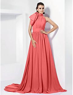 billiga Klänningar till speciella tillfällen-A-linje Hög hals Hovsläp Chiffong Vintage-inspirerad Formell kväll Klänning med Rosett(er) / Plisserat av TS Couture®