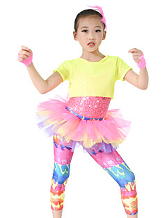 MiDee Performance Outfits Children's Performance Spandex / Sequined Cascading Ruffle 3 Pieces Multi-color Performance
