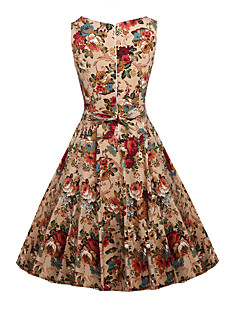 Women's Party Daily Holiday Going out Club Vintage Sexy Boho Sheath Dress,Floral Round Neck Midi Sleeveless Cotton Summer High Rise