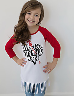 Girls' Print Tee Cotton Spring Fall Long Sleeve Regular All You Need Is Love Letter Tassel T Shirt for Kids Girls
