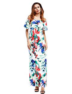 Χαμηλού Κόστους Split dresses-Γυναικεία Κλαμπ Βίντατζ Κομψό στυλ street Βαμβάκι Φουσκωτό Μανίκι Φαρδιά Φόρεμα - Φλοράλ, Εξώπλατο Μακρύ Χαμόγελο