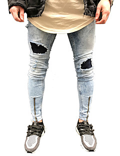 Men's Mid Rise Micro-elastic Skinny Pants,Casual Street chic Other Polester/Cotton Blend Spring Fall