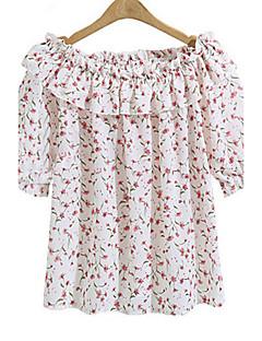billige Overdele til damer-Bateau-hals Dame Drapering Trykt mønster Plusstørrelser Bluse Rayon Polyester
