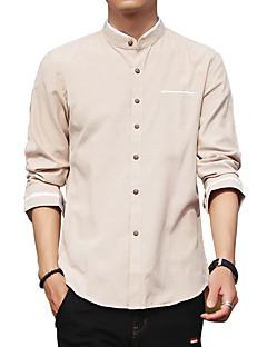Bomull Polyester Medium Langermet,Skjortekrage Skjorte Ensfarget Geometrisk Trykt mønster Alle sesonger Høst Vintage Enkel Gatemote