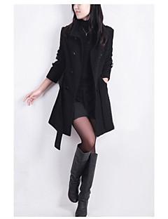Damen Solide Einfach Lässig/Alltäglich Trench Coat,Steigendes Revers Herbst Lange Ärmel Lang Baumwolle überdimensional