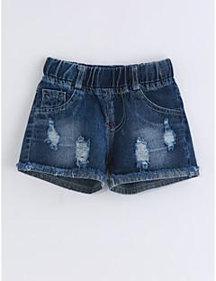 billige Bukser og leggings til piger-Pige Jeans Helfarve, Bomuld Sommer Blå