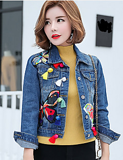 Women's Daily Casual Spring Denim Jacket,Print Shirt Collar Long Sleeve Short Cotton