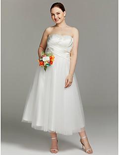 Tea length wedding dresses search lightinthebox a line strapless tea length satin tulle wedding dress with criss cross ruching by lan junglespirit Gallery