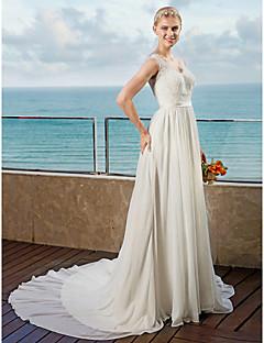 billiga Plusstorlek brudklänningar-A-linje remmar Kapellsläp Chiffong Bröllopsklänningar tillverkade med Applikationsbroderi / Skärp / Band av LAN TING BRIDE® / Öppen Rygg