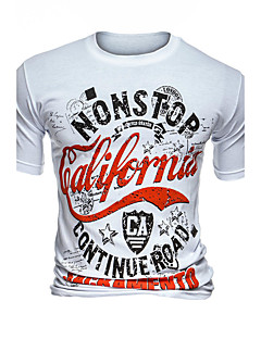 Men's Going out Casual/Daily Simple Summer T-shirt,Print Round Neck Short Sleeves Cotton Polyester Medium