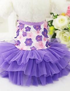 billiga Hundkläder-Katt Hund Smoking Klänningar Hundkläder Blommig/Botanisk Purpur Rosa Chiffong Cotton Kostym För husdjur Dam Fest Ledigt/vardag Bröllop
