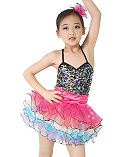 levne Dětské taneční kostýmy-Dětské taneční kostýmy Šaty Výkon Spandex Elastický Samet Elastický satén Flitry Volány Bez rukávů Přírodní Šaty Doplňky do vlasů