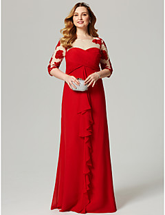 cheap Plus Size Dresses-Sheath / Column Illusion Neckline Floor Length Chiffon Cocktail Party / Formal Evening / Holiday Dress with Appliques Ruched Criss Cross