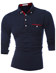 Men's Daily Sports Casual Active Spring Fall Polo,Polka Dot Shirt Collar Long Sleeves Cotton Thick