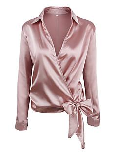 Damen Solide Street Schick Lässig/Alltäglich Hemd,Hemdkragen Alle Saisons Langarm Kunstseide Polyester Dünn