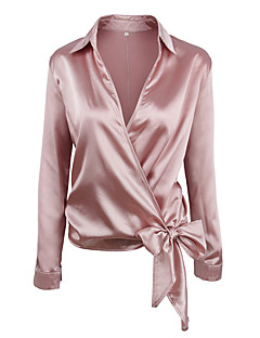 Dames Street chic Alle seizoenen Overhemd,Casual/Dagelijks Effen Overhemdkraag Lange mouw Rayon Polyester Dun