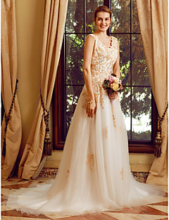 A Line Straps Court Train Lace Tulle Wedding Dress With Appliques Buttons Crystal Detailing By