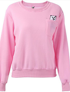 billige Pigesweaters og hættetrøjer-Dame Ensfarvet Afslappet Sweatshirt Normal Daglig Langærmet, Rund hals Forår