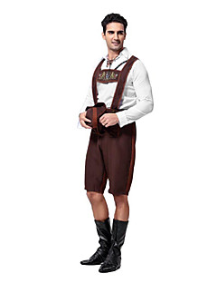 cheap -Bavarian Oktoberfest Cosplay Costume Party Costume Men's Halloween Carnival New Year Festival / Holiday Halloween Costumes Coffee