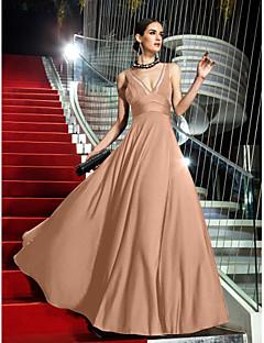 billiga Kändisklänningar-A-linje Dunkel halsringning Golvlång Jersey Återföreningsfest / Bal Klänning med Rosett(er) Sidodraperad av TS Couture®