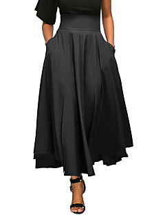 Women's Daily Going out Holiday Midi Skirts,Casual Street chic Swing Polyester Solid Spring Summer