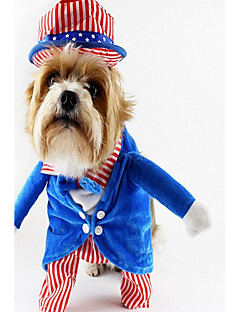 billiga Hundkläder-Hund Dräkter/Kostymer Hundkläder Rand Grön Blå Polyester Kostym För husdjur Unisex Fun & Whimsical Fest Cosplay