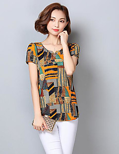 Women's Casual/Daily Simple T-shirt,Color Block Round Neck Short Sleeves Polyester