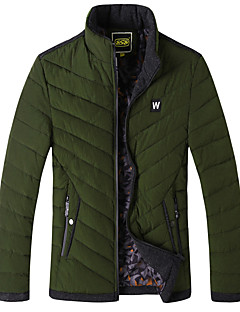 Men's Regular Padded Coat,Simple Going out Casual/Daily Solid-Nylon Polyester Long Sleeves Stand