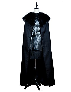 billige Halloweenkostymer-Game of Thrones Jon Snow Kostume Herre Film-Cosplay Svart Topp Skjørte Kappe Halloween Karneval PU Leather Polyester
