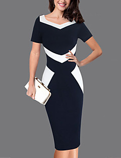 cheap Women's Dresses-Women's Plus Size Work Bodycon Dress - Color Block, Backless Sweetheart