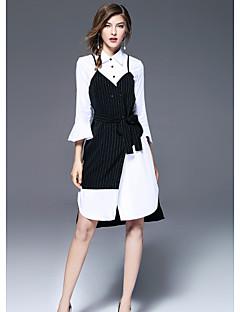 cheap FRMZ-FRMZ Women's Cute Sheath Dress - Patchwork Shirt Collar