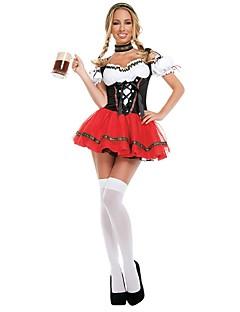 Oktoberfest Cosplay Cosplay Kostuums Outfits Vrouwelijk Volwassenen Oktoberfest Festival/Feestdagen Halloweenkostuums Rood Vintage